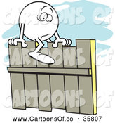 Vector Illustration of a Cartoonm Fearful Moodie Character Straddling a Fence by Johnny Sajem
