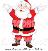 Vector Illustration of a Cheerful Santa Standing with His Arms Open by Yayayoyo