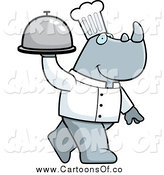Vector Illustration of a Chef Rino Carrying a Platter by Cory Thoman