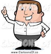Vector Illustration of a Chubby White Businessman Holding up a Finger by Cory Thoman