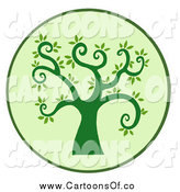 Vector Illustration of a Curly Green Branched Tree by Hit Toon