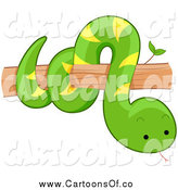Vector Illustration of a Cute Green Snake on a Tree Branch by BNP Design Studio