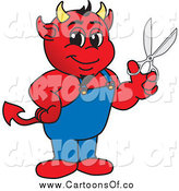 Vector Illustration of a Devil Holding Scissors by Toons4Biz