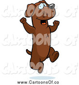 Vector Illustration of a Excited Brown Dachshund Dog Jumping by Cory Thoman