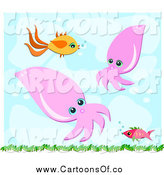 Vector Illustration of a Fish and Squid Underwater by