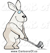 Vector Illustration of a Golfing White Rabbit Holding the Club Against the Ball on the Tee by Cory Thoman