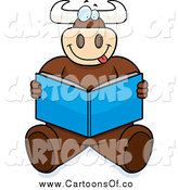 Vector Illustration of a Goofy Bull Sitting and Reading by Cory Thoman