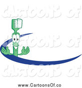 Vector Illustration of a Green Toothbrush Character with a Blue Dash by Toons4Biz