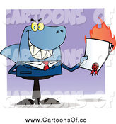 Vector Illustration of a Grinning Shark Businessman Holding a Flaming Bad Contract in His Hand by Hit Toon