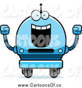 Vector Illustration of a Happy Cheering Blue Robot Boy by Cory Thoman