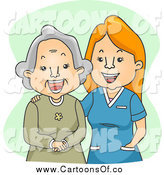 Vector Illustration of a Happy Female Geriatric Nurse Laughing with a Senior Woman by BNP Design Studio