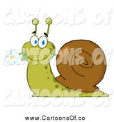 Vector Illustration of a Happy Snail Eating a Flower by Hit Toon