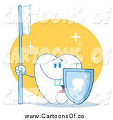 Vector Illustration of a Happy Tooth Holding a Blue Toothbrush and Shield by Hit Toon