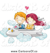 Vector Illustration of a Kid Couple Flying an Airplane by BNP Design Studio