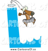 Vector Illustration of a L Cliff with a Dog Jumping off in an Inner Tube by Toonaday