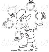 Vector Illustration of a Lineart Christmas Woman Juggling Five Golden Rings by Toonaday