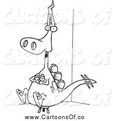 Vector Illustration of a Lineart Dinosaur Wearing a Dunce Hat by Toonaday