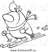 June 9th, 2015: Vector Illustration of a Lineart Skiing Polar Bear by Toonaday