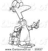 Vector Illustration of a Lineart Surgeon Holding a Scalpel by Ron Leishman