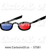 Vector Illustration of a Pair of 3d Movie Eye Glasses by Hit Toon