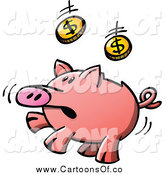 Vector Illustration of a Piggy Bank Jumping and Catching Coins by Zooco