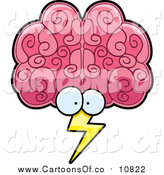 Vector Illustration of a Pink Brain Face Storm with Lightning by Cory Thoman