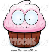 Vector Illustration of a Pink Cupcake with Big Eyes by Cory Thoman