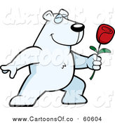 Vector Illustration of a Polar Bear Presenting a Rose by Cory Thoman