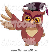 Vector Illustration of a Presenting Professor Owl Wearing a Mortar Board by Pushkin