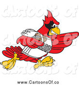 Vector Illustration of a Red Cardinal Playing Football by Toons4Biz