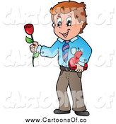 Vector Illustration of a Romantic Valentines Day Man Holding a Red Rose and Box of Candy by Visekart