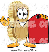Vector Illustration of a Scrub Brush Character Holding a Sales Tag by Toons4Biz