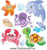 Vector Illustration of a Starfish Dolphin Octopus Crab Sea Turtle and Shells by Visekart