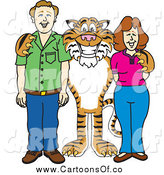 Vector Illustration of a Tiger School Mascot with Teachers or Parents by Toons4Biz