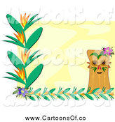 Vector Illustration of a Tiki Floral Vine and Yellow Background by