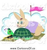 Vector Illustration of a Tortoise and Hare at a Start Line by