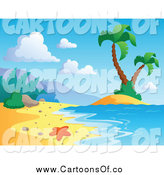 Vector Illustration of a Tropical Beach with a Starfish Surf and Palm Trees by Visekart