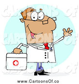 Vector Illustration of a White Cartoon Doctor Man Carrying His First Aid Bag by Hit Toon