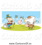 Vector Illustration of a White Male Farmer with His Cattle by Hit Toon