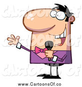 Vector Illustration of a White Male Tv Show Host Using a Microphone by Hit Toon