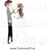 Vector Illustration of a White Wedding Couple Feeding Each Other Cake by BNP Design Studio