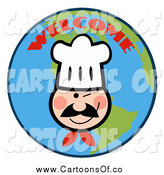 Vector Illustration of a Winking Chef Face over a Welcome Earth by Hit Toon