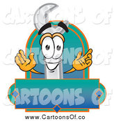 Vector Illustration of a Wrench Character with a Blank Label by Toons4Biz