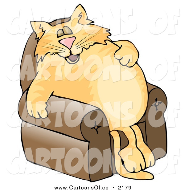 Cartoon Illustration of a Anthropomorphic Chubby Cat Napping on a Recliner Chair