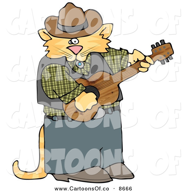 Cartoon Illustration of a Anthropomorphic Cowboy Cat Playing Country Music on an Acoustic Guitar, on White