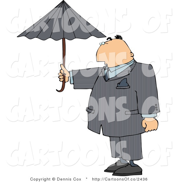 Cartoon Illustration of a Businessman Taking Precautions and Standing Outside Under an Umbrella in Rainy Weather