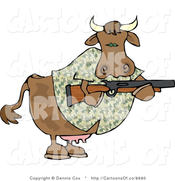 Cartoon Illustration of a Camouflaged Hunter Cow
