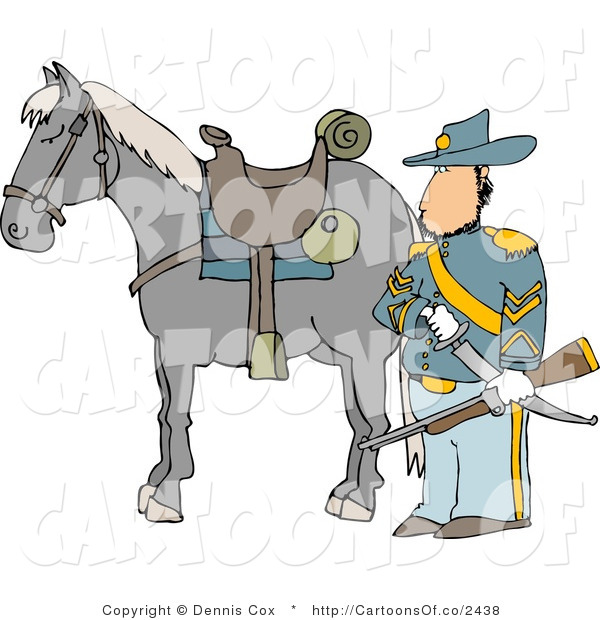 Cartoon Illustration of a Caucasian Armed Union Soldier Standing Beside His Horse on a Battlefield
