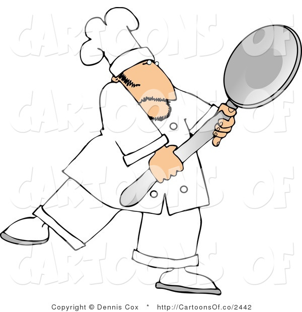 Cartoon Illustration of a Caucasian Male Cook Carrying a Big Metal Spoon