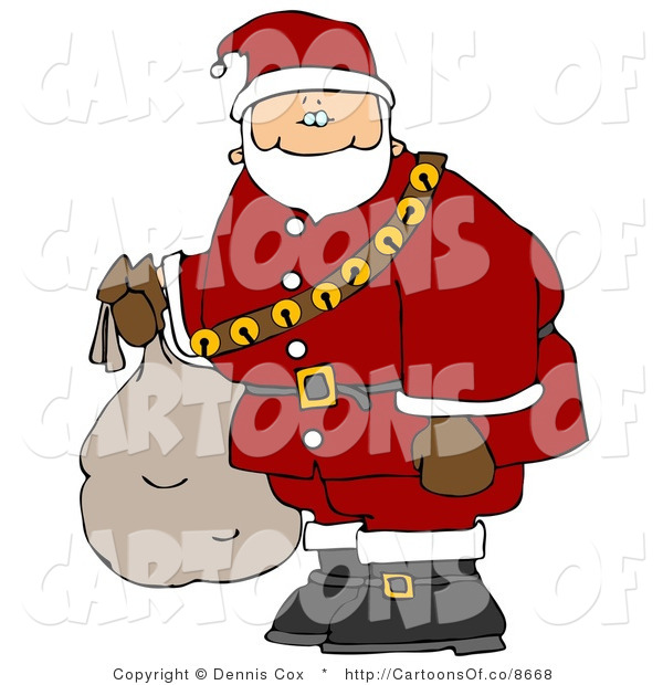 Cartoon Illustration of a Caucasian Santa Claus Carrying Bag of Toys